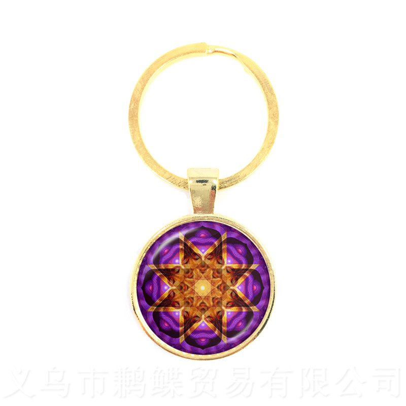 2018 Life Key Chain Fashion OM Yoga Chakra Mandala Glass Jewels Sacred Geometric Purple Flower Gift For Friends Brithday Gift