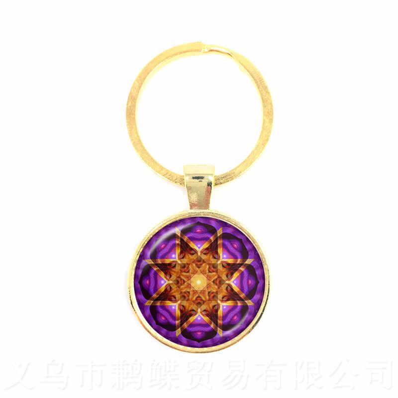 2018 Vida Chave Da Cadeia de Moda Jóias De Vidro Mandala OM Yoga Chakra Geométricas Sagradas Flor Roxa Presente Para Amigos Presente Brithday