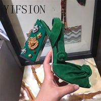 YIFSION New Fashion Retro Women Sandals Black Red Green Genuine Leather Metal Thick High Heel Women Party Sandals Shoes Woman