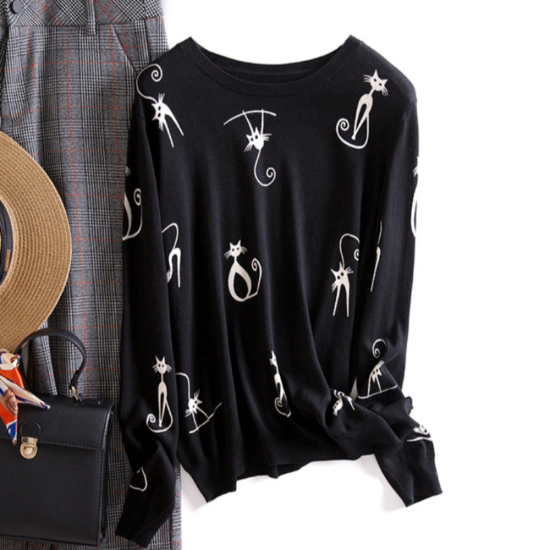 Runway Sweater Women Luxury Brand Design Elegant Long-sleeve Feminino New Loose Printed Sweater Knitted Pullovers Tops Winter