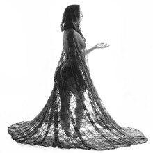 Manto de renda com capuz, capa de casamento longo de noiva xale manto em preto, branco, marfim