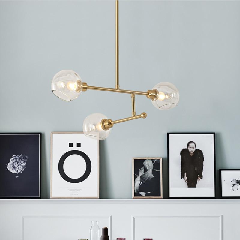 Post Modern Bedroom E27 LED Molecular Chandelier Nordic Decorative Lighting Glass Ball Living Room Hanglamp Dining Room Lights in Pendant Lights from Lights Lighting