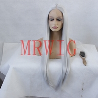 MRWIG white grey hair color middle part real hair 26inch 150% cosplay for black women,wigs synthetic hair grey color