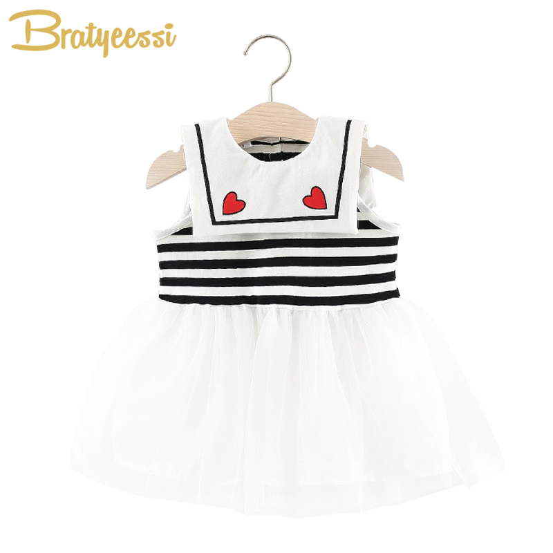 Preppy Style Baby Girl Dresses Sleeveless Tulle Baby Girls Dress 2018 Summer Clothes Turn-Down Collar Heart Vestido Infantil