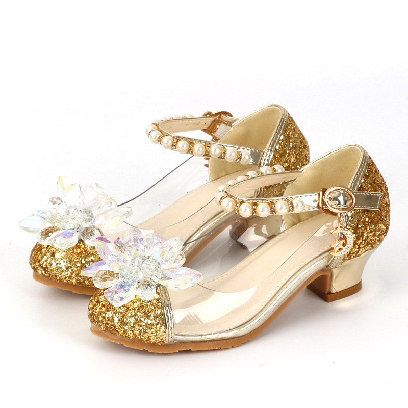 Girls Princess Shoes Children High Heels Pearl Flower Leather Sandals Glitter Sequins Dance Dress Weddings Party Kids Fashion kids glitter sandals elegant princess dance wedding dance party leather shoes heel student