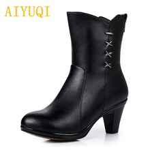 все цены на AIYUQI 2019 New genuine leather martin boots women,Warm thick wool winter snow boots women,women thick high heel boots shoes онлайн