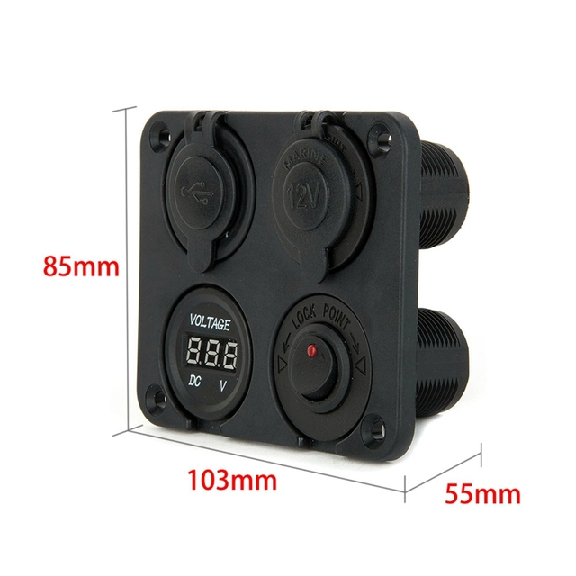 4 Port Waterproof 2 Micro USB Car Charger Adapter Cigarette Lighter Socket Plug Rocker Switch Panel + LED Voltage Display