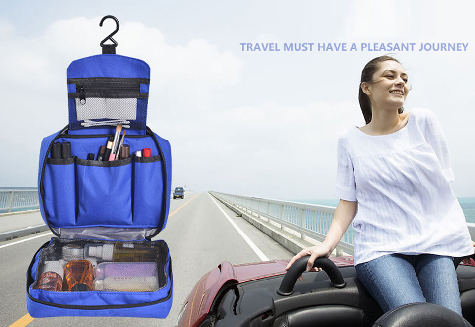 Hanging Travel Cosmetic Bag Women Zipper Make Up Bags Polyester High Capacity Makeup Case handbag Organizer Storage Wash Bag     (1)