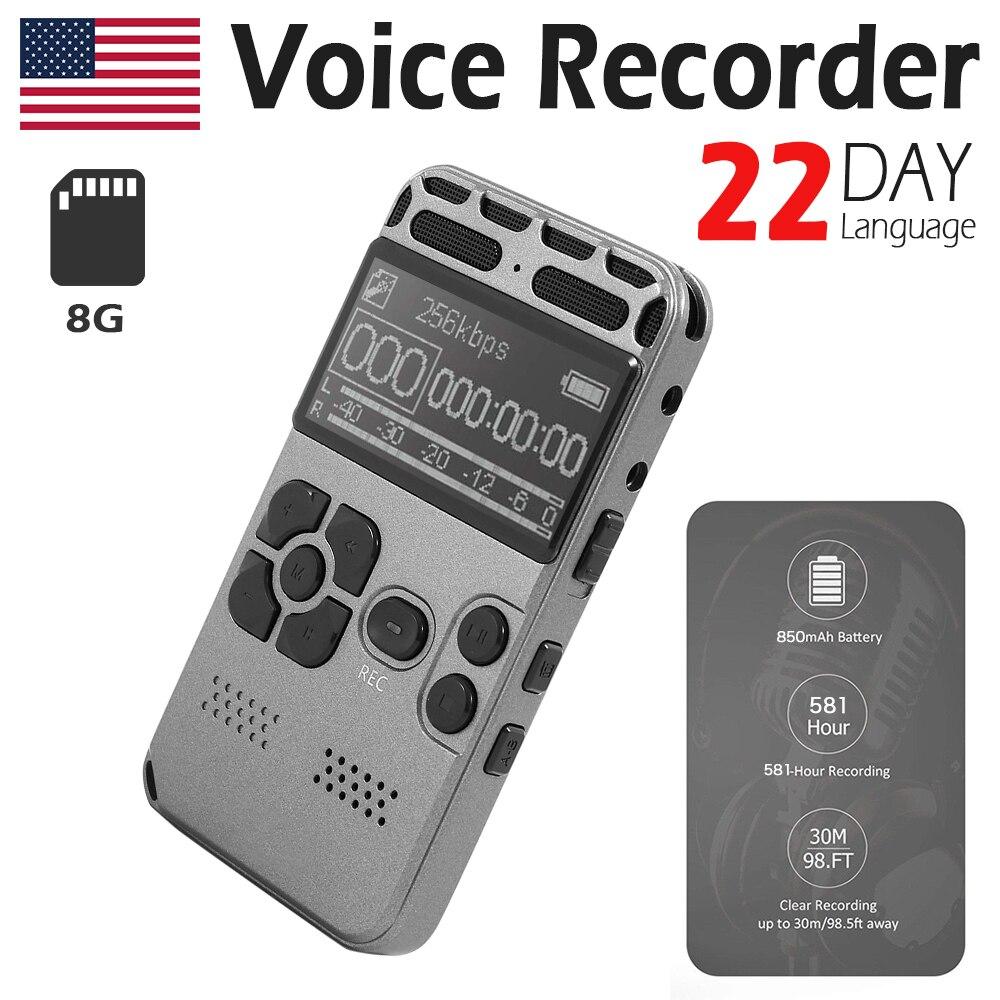 Enregistrement Audio numérique 8 GB enregistreur vocal USB professionnel 72 heures Dictaphone avec lecteur MP3 WAV pour conférences réunions