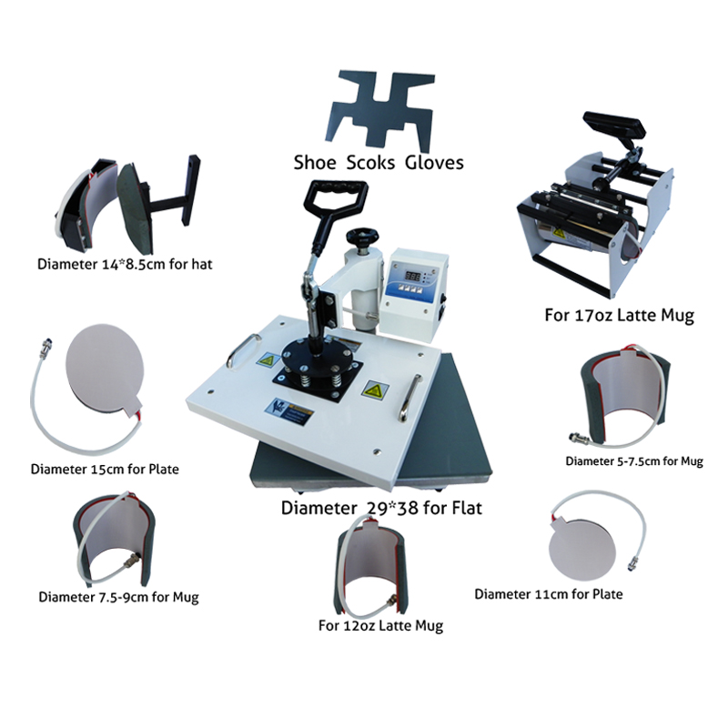 цены Multifunctional digital 9 in 1 Heat Press Machine for print T-shirt/Mug/Cup/Plate/Hat/Flat/Shoes/Sock/ Glove heat press machine