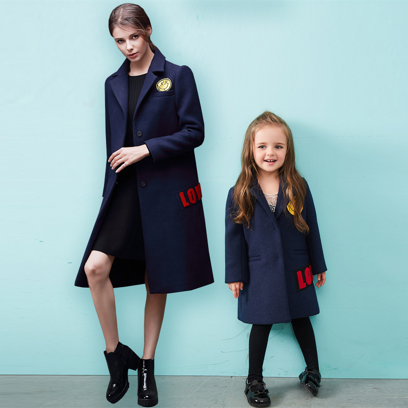 Mother and daughter clothes European and American patch mother women Smile in the long section of wool coat family clothing 20# economic empowerment of women and family structures