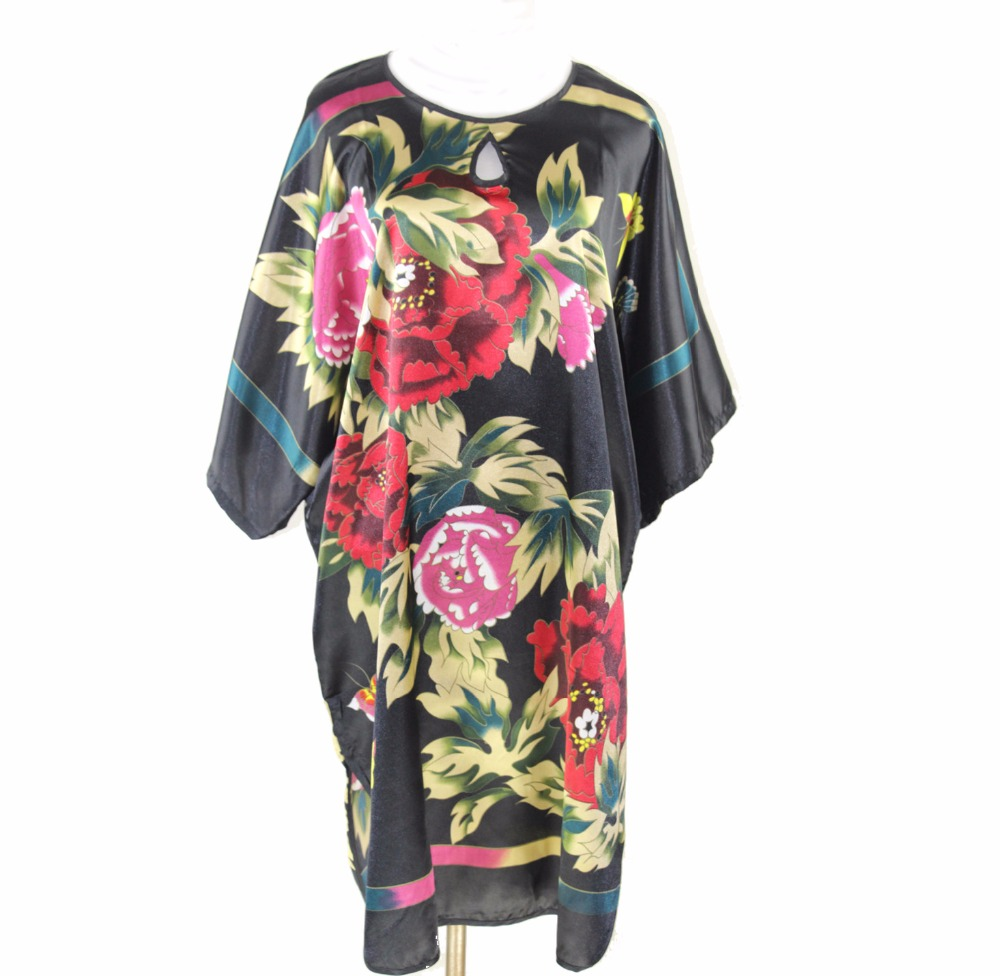 Novelty Printed Womens Summer Robe Dress Chinese Style Rayon Casual Loose Nightgown Kimono Yukata Bath Gown One Size WR073