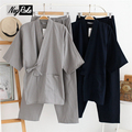 Plus Size XL Spring Japanese pajamas mens kimono Sets male pijama hombre 100% cotton loose sweat steaming Robes sets for men