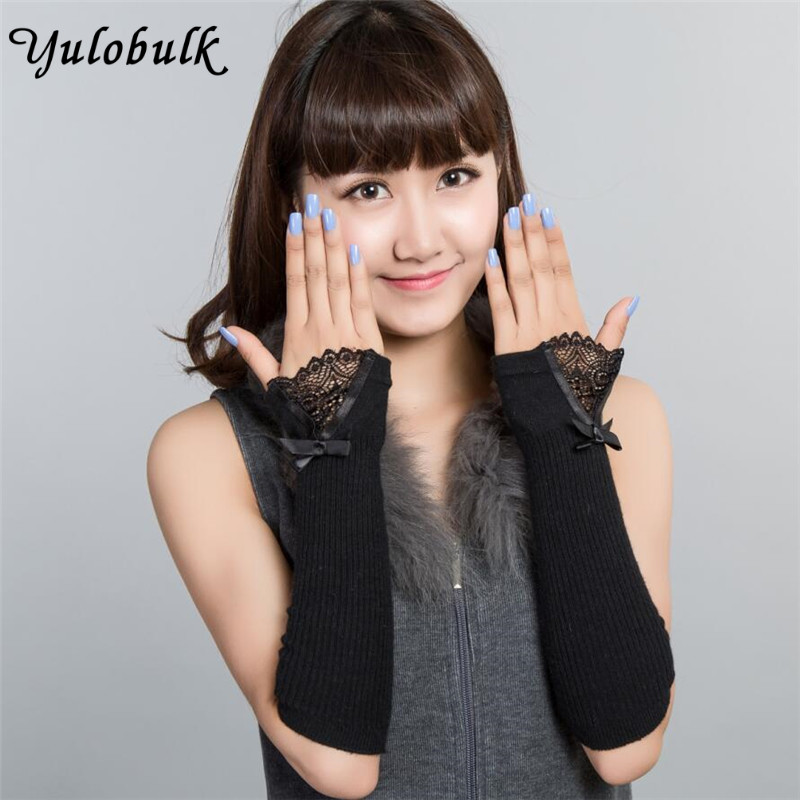 Women Arm Warmers Fingerless Knitted Long Gloves Long Cotton Butterfly Arm Sleeve Lace Gloves Arm Warmers Hand Warmer
