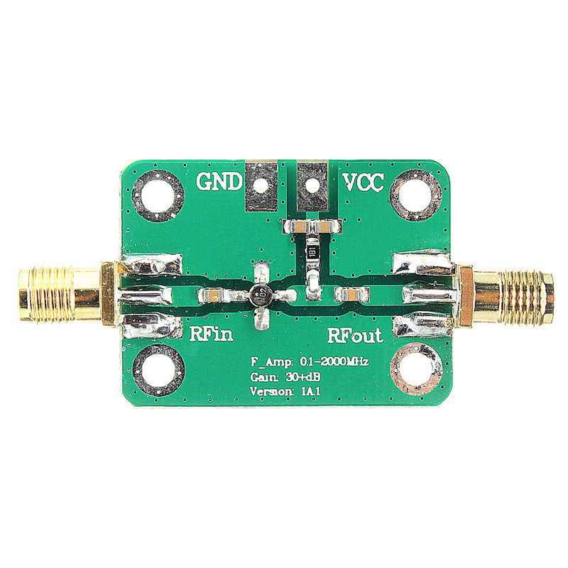 0.1-2000MHz RF wideband amplifier gain 30dB low-noise amplifier LNA Board Modules 25X52mm Colorfu Green + Gold New Arrival rf broadband lna 0 1 2000mhz amplifier 30db high frequency amplifier