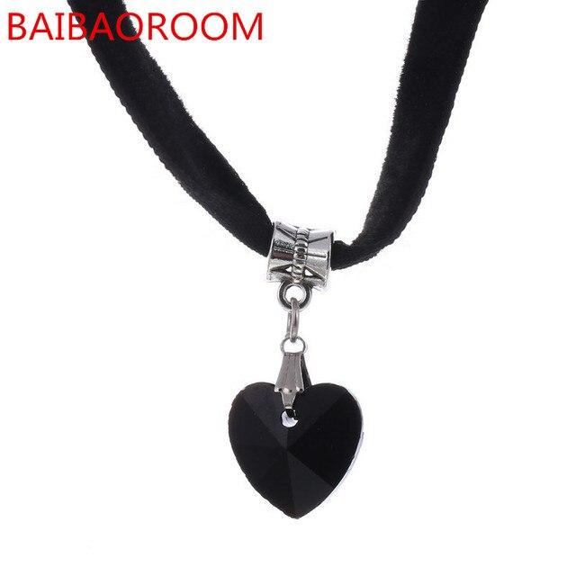 6 Colors Simple Heart Necklaces & Pendants Lace Chokers Necklaces Maxi Steampunk