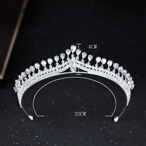 Image 4 - Новая страз свадебная тиара Блестящая серебряная принцесса короны для невесты свадебный головной аксессуар бесплатная доставка SQ0294