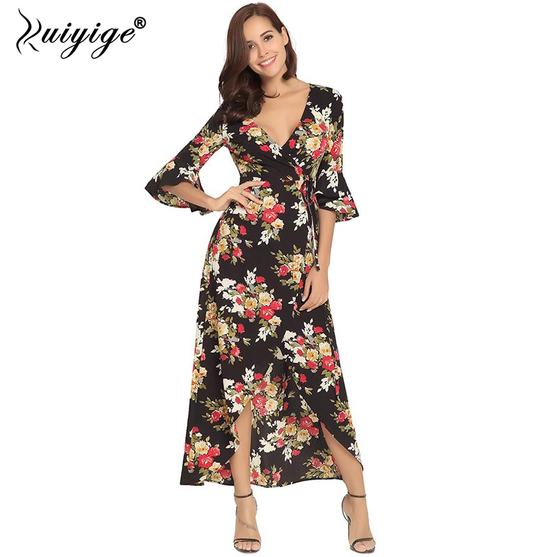 Ruiyige Women Sexy Deep V Floral Print Dress Summer Party Boho Long Dresses 2018 Half Sleeve Maxi Beach Vestidos Cross Tie