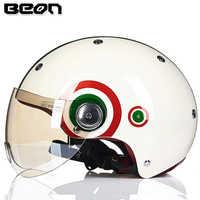 BEON moto rcycle Mezza Viso Casco Capacete D'epoca moto cross Casco moto bicicletta elettrica Casco di sicurezza 103