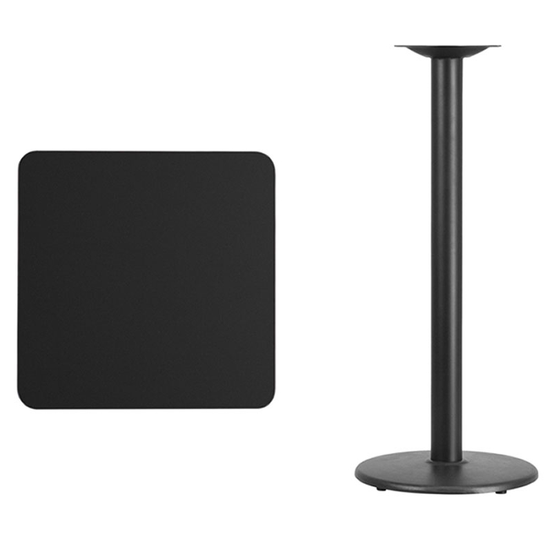 Flash Furniture 24'' Square Black Laminate Table Top with 18'' Round Bar Height Table Base winsome cora pub table bar height round faux marble top black base
