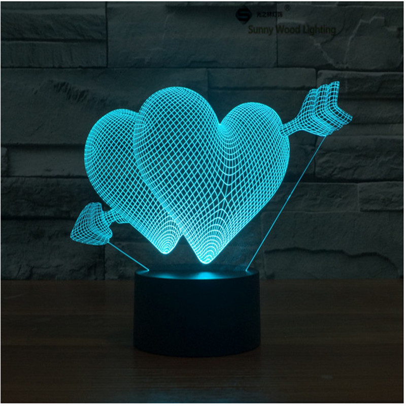 Cupid arrow touch switch LED 3D lamp,Visual Illusion 7color changing 5V USB for laptop,Christmas cartoon toy lamp