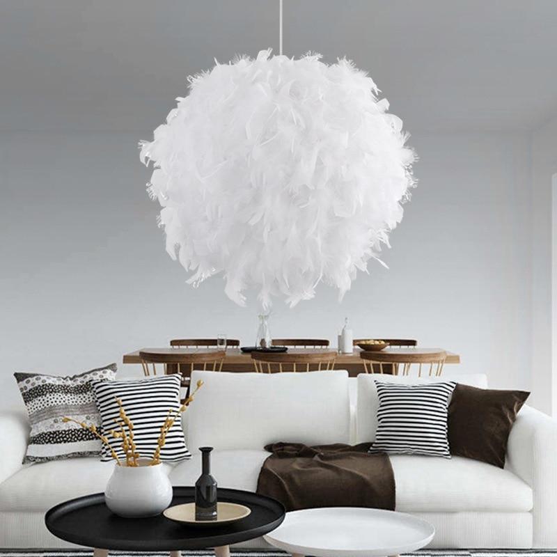 Modern Bedroom Pendant Light White Pink Feather Globe Lamp Bedroom Children's Room Decoration Hanging Light цены онлайн