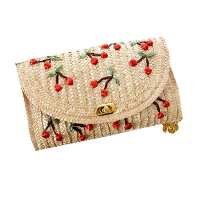 Fruit Cherry Banana Woven Bag for Women Embroidery Summer Beach Bag Cute Bohemian Straw Bag Cross Body Chain Shoulder Bag L20