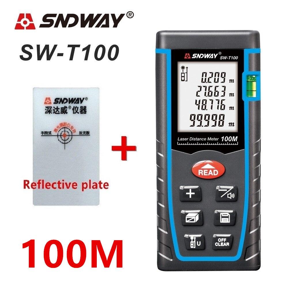 SNDWAY Medidor láser de distancia de 40 m 60 M 80 m 100 M láser telémetro cinta láser medida construir dispositivo de la ruleta trena gobernante