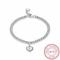 Heart Tag 925 Sterling Silver Ball Beaded Bracelet For Women Love Charm Lucky Beads Bracelet Pulseiras