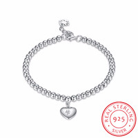 Heart Tag 925 Sterling Silver Ball Beaded Bracelet For Women Love Charm Lucky Beads Bracelet Pulseiras