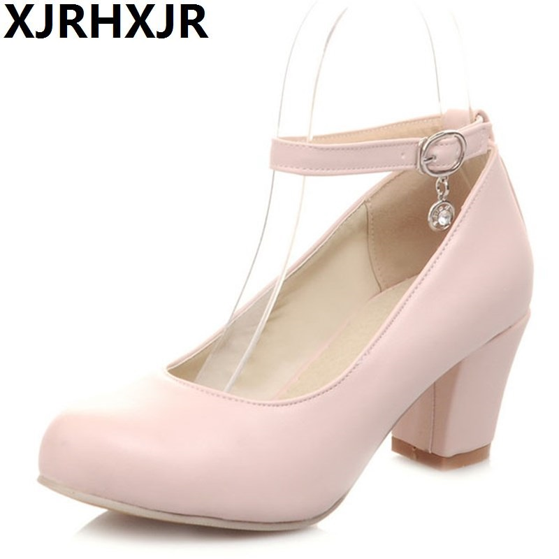 XJRHXJR Spring Autumn Sweet Thick Heel Round Toe Women's Shoes Thick Heel Single Shoes Work Casual Roma Style Shoes Plus Size 43 spring autumn chunky 4cm low heels sweet bow lolita girls shoes pincess round toe vintage shoes plus size