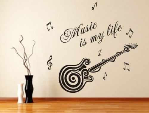 bcf6ad8c3 الموسيقى هي حياتي D429 الغيتار نمط الفينيل صائق ملصق الحائط الشارات الجدار  ملصق