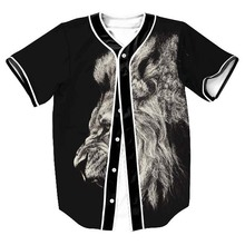 Animal Baseball T Shirt 3D Print Lion Graphic Jersey T Shirts Design Short Sleeved Button Cardigan Baseball Uniform Tops Tees