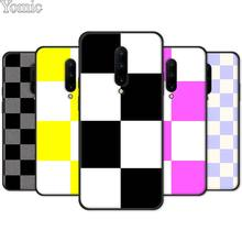 Black Silicone Case for Oneplus 7 7 Pro 6 6T 5T Phone Case for Oneplus 7 7Pro Soft TPU Cover Shell Checkerboard Plaid