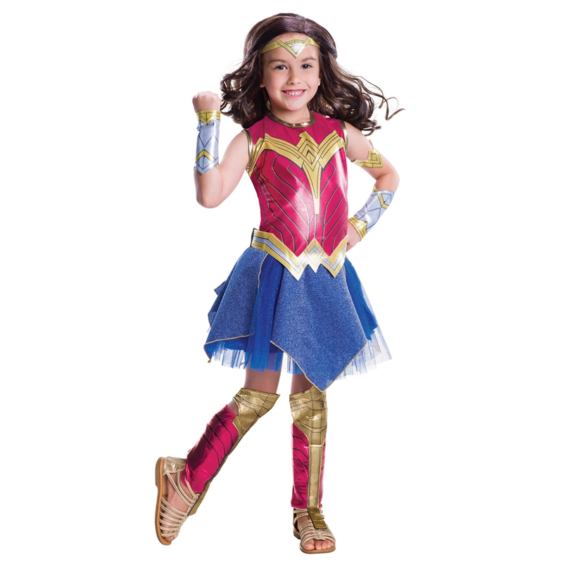 Dawn Of Justice Wonder Woman Cosplay Costume for Girls Wonder Woman Carnival Halloween Costume for Kids Short Sleeve Dress Child