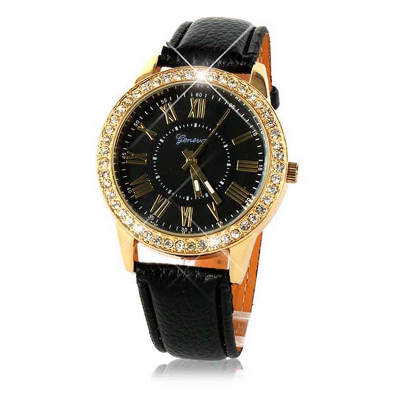 Watch Crystal Gold Watches Women Bling Gold Crystal Womensluxury Leather Strap Quartz Wrist Watch New