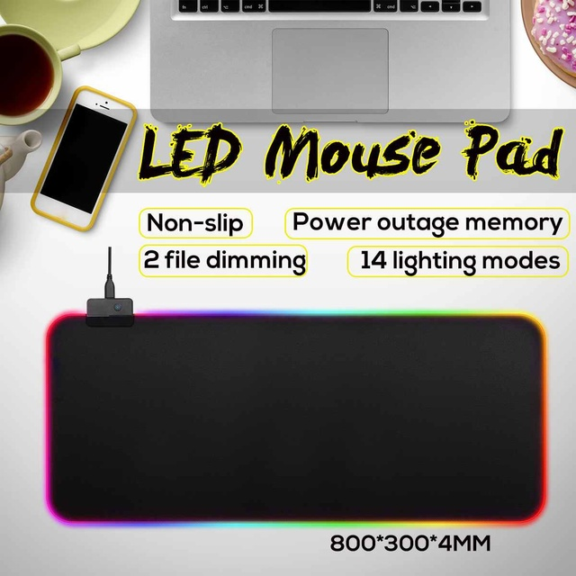 Large LED RGB Mouse Pad Glowing USB Wired Lighting Gaming Gamer Colorful Mousepad Anti-slip Mice Mat for PC Computer