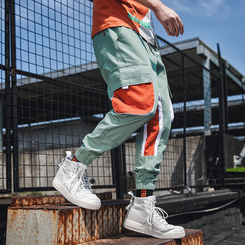 Contrast Color Cotton Cargo Pant Trousers Hip Hop Streetwear Men 39 s Joggers Pants Big Pockets Fashion Summer Harem Pant Men in Cargo Pants from Men 39 s Clothing