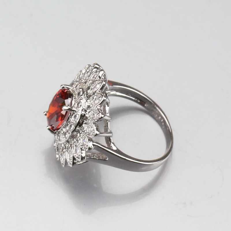 Манни брелок большой цветок красный гранат белый кристалл 925 серебро 9 цветов Ювелирные наборы для женщин Свадебные украшения