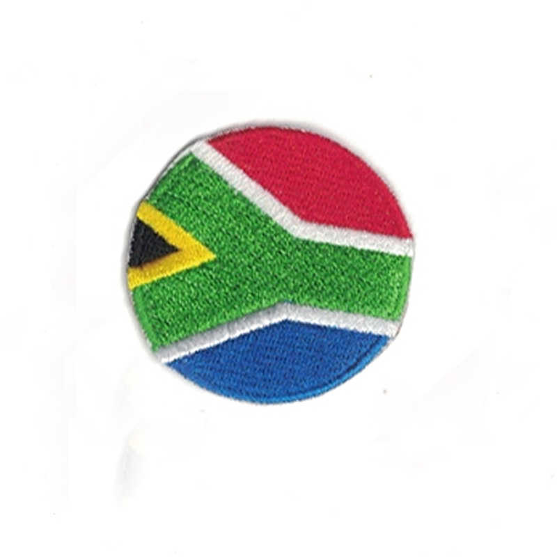 20bdfeea6d04 Round Shape Embroidered south-africa Flag Iron-On Patches 100% embroider  actical Military Patches Fabric Armband National Flag B
