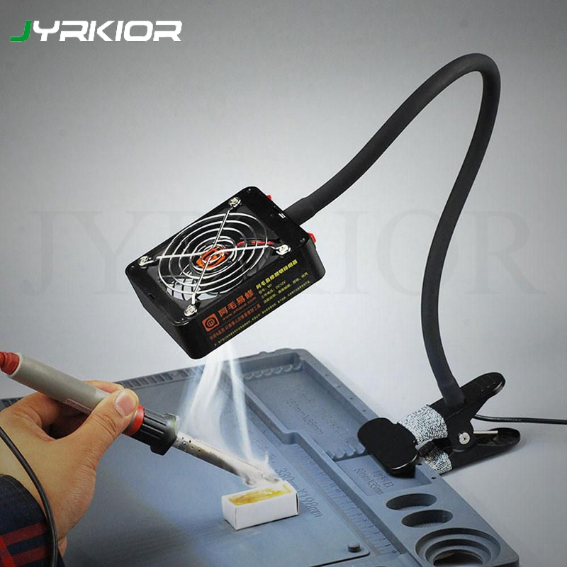 Exhaust Fan Soldering Iron Air Blower Welding Smoking Device Remover Fan LED Lighting Dual Use Fan