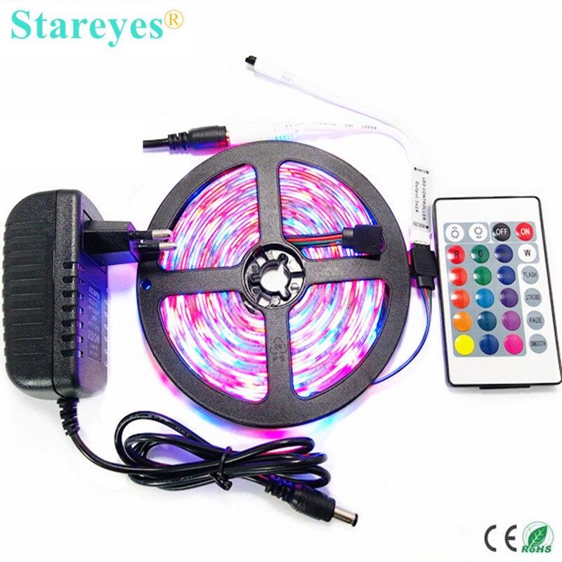 1 set 5M SMD 3528 2835 300 LED RGB led Strip flashlight tape LED Light Waterproof lighting strip + IR Remote + 2A Power Adapter