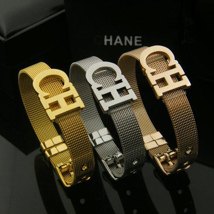 CH Letter Mesh Belt buckle Watchband Stainless Steel Bracelet