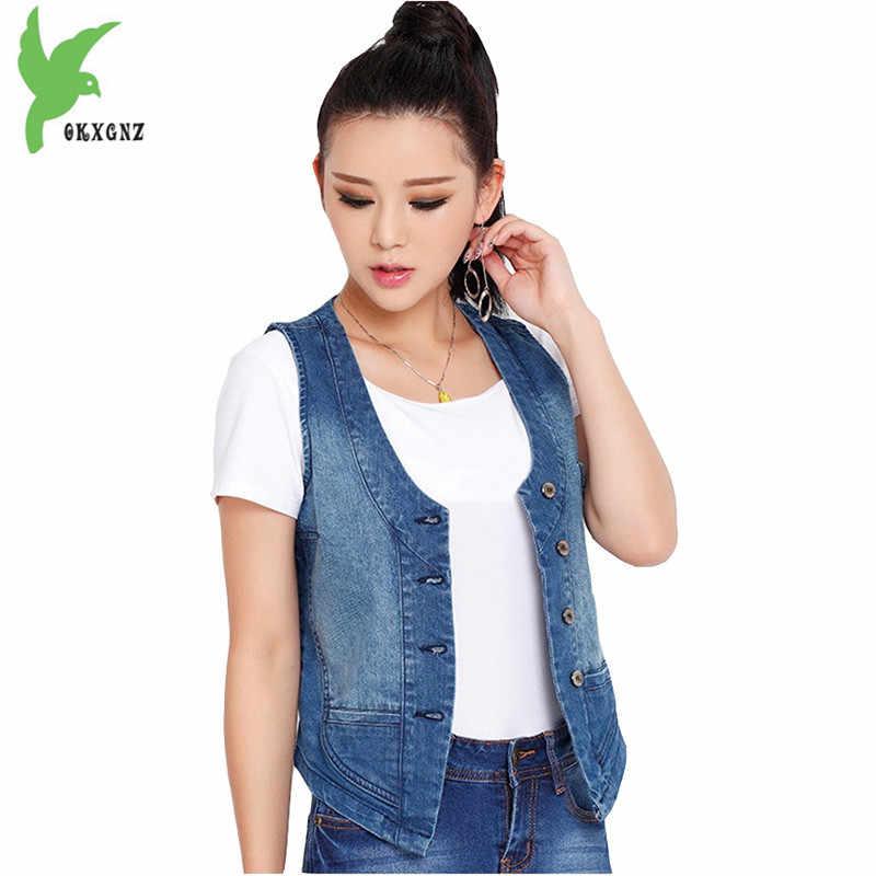 Плюс размер 5XL Жилеты для женщин 2018 Весна и лето джинсовый жилет короткая куртка женская майка Верхняя одежда хлопковые топы OKXGNZ 1755