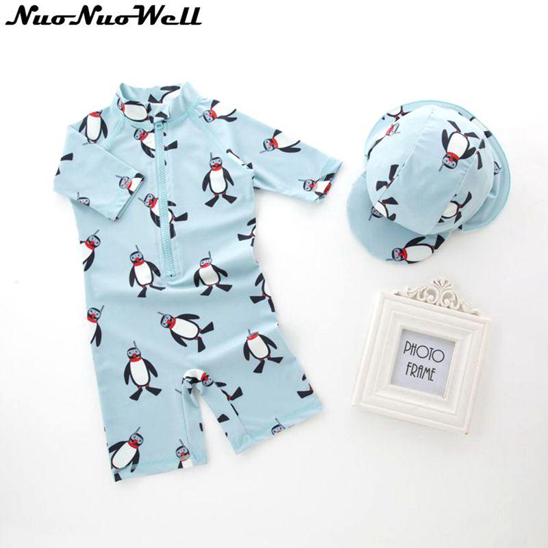 Baby Boys Swimsuit Girl Children's Swimsuit Kids Bathing Suit Baby Boy Swimwear Hat+Suits 2pcs Infant Swimwear for 0-36 Months