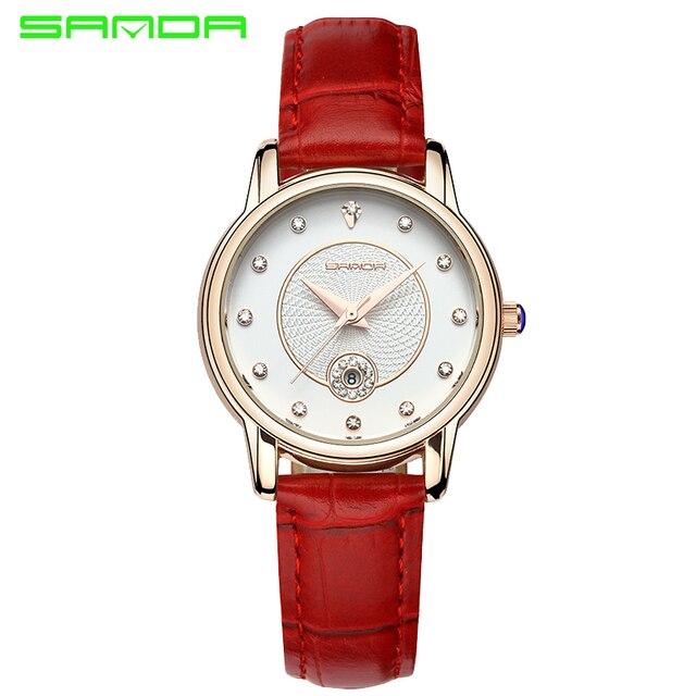 Sanda marca de lujo mujer reloj de moda correa de cuero rojo mujeres  vestido reloj de e7502bf3c2c2