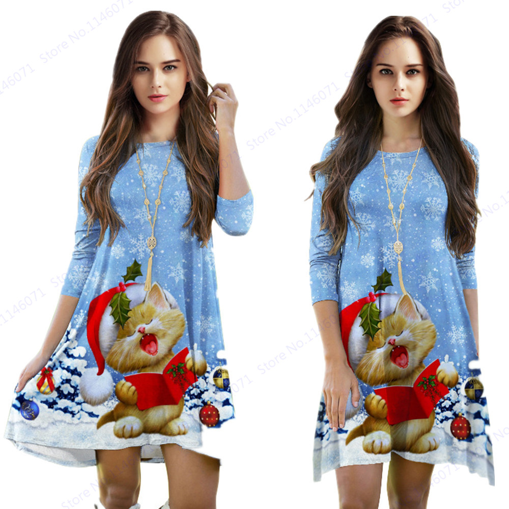 Blau Weihnachten Schneeflocke Tennis Kleid Nette Gelb Lesen Kitty ...