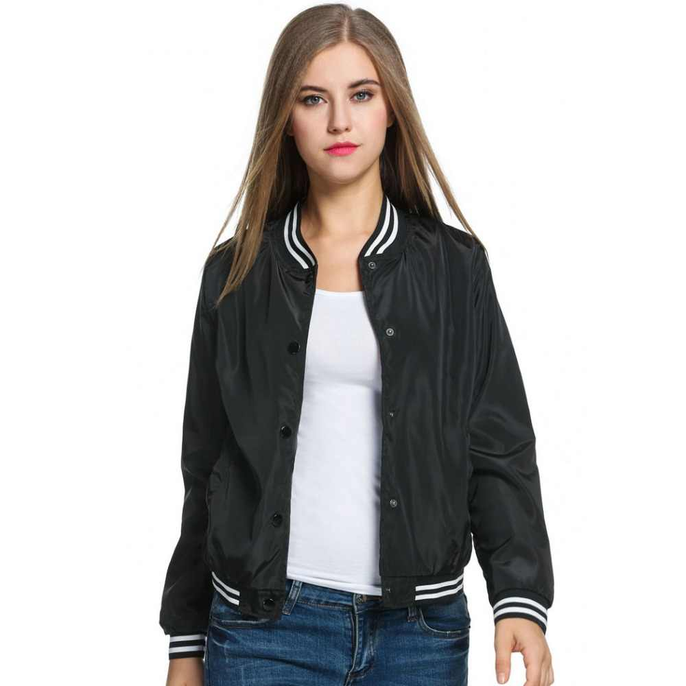 a85d818d2 Meaneor Ladies Bomber Jackets Fashion and Retro Baseball coat for women  Students Ribbed Cuffs Solid Color Feminina Basic Outwear