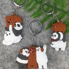 1 pc Kawaii Criativo Três Ursos Dos Desenhos Animados Figuras de Ação Brinquedo Três Nua urso panda Ursos do gelo Chaveiro brinquedos figura presente