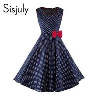 Sisjuly Vintage Women Summer Dress Blue Polka Dots Party Dress Red Bow Sleeveless News 2017 Summer
